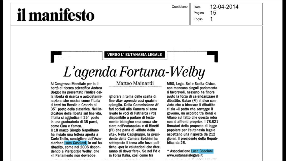 Il Manifesto – L'agenda Fortuna-Welby