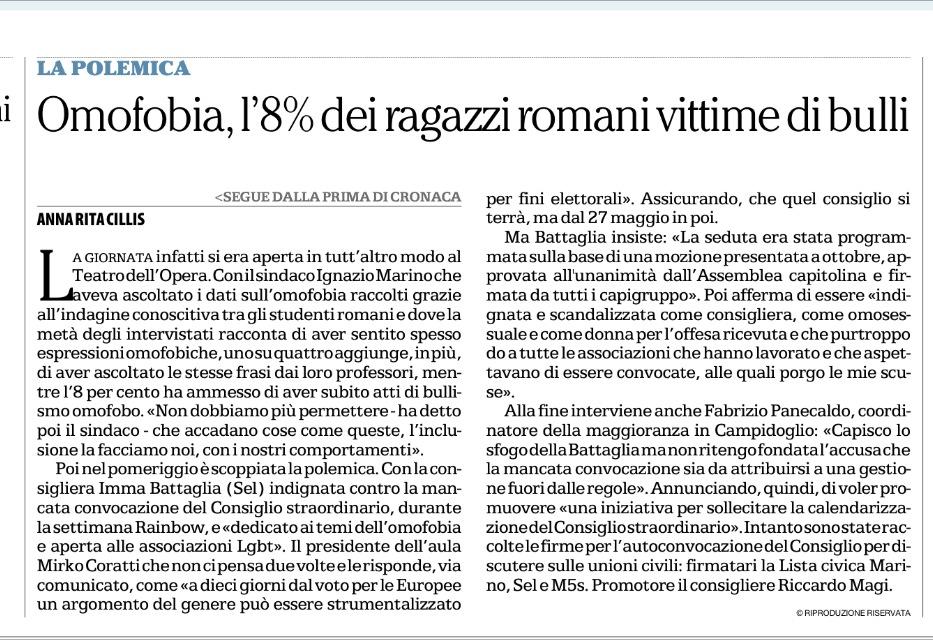 Omofobia, l'8 per cento degli studenti romani ha subito atti di bullismo.