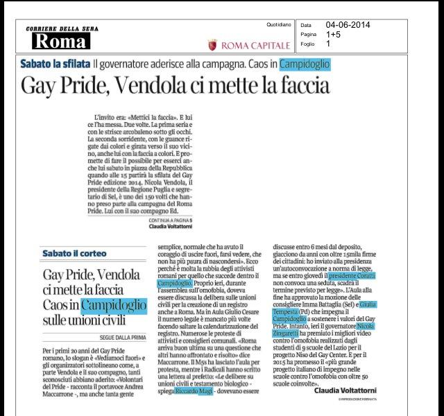 Corriere della Sera – Gay Pride, Vendola ci mette la faccia