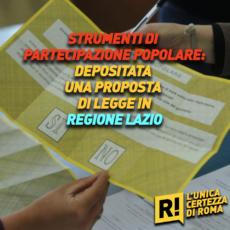 Depositata proposta di legge sugli istituti di partecipazione popolare nel Lazio