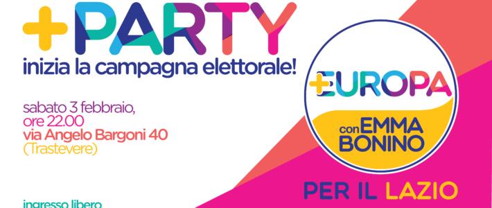 +Party! Sabato 3 febbraio la festa di +Europa per il Lazio